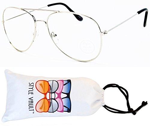 aef15ebce311 A122-vp Aviator Pilot Clear Lens Eyeglasses Sunglasses (S1592V  Silver-Clear