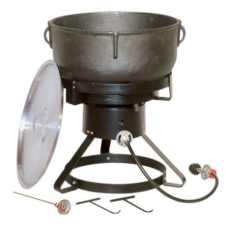 King Kooker 10-Gallon Cast Iron Jambalaya Pot w/Cooker Package