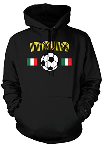 Amdesco Men's Italia Soccer, Love Italian Italy Football Hooded Sweatshirt, Black Medium - Soccer Soccer Sweatshirt