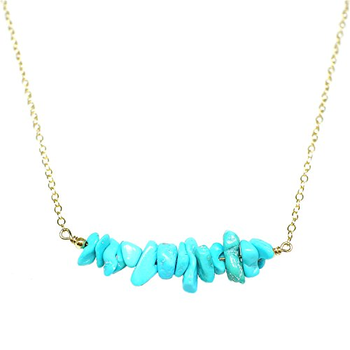 STELLA HANDMADE JEWELRY 14-kt Gold-Filled Brass Necklace with Turquoise Chips 20