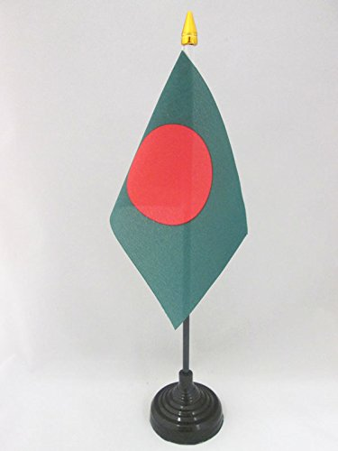 BANDIERA DA TAVOLO BANGLADESH 15x10cm punta dorata - PICCOLA BANDIERINA BENGALESE 10 x 15 cm - AZ FLAG