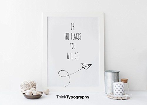 Oh the places you will go paper plane - Unframed art print poster or greeting card, nursery decor, bedroom, wall art, Motivational, quote, art print, Scandinavian, nursery wall art, home decor (Paper Anniversary Meaning)