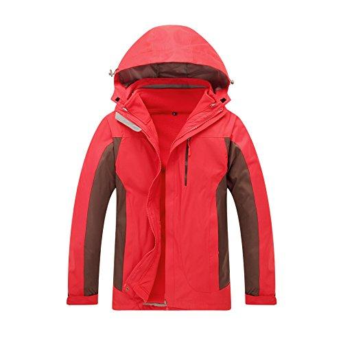 FYM Windproof M Coat Color Zipper Sleeves Hat M Solid Men DYF Long Women JACKETS Red Jacket gr7gwS
