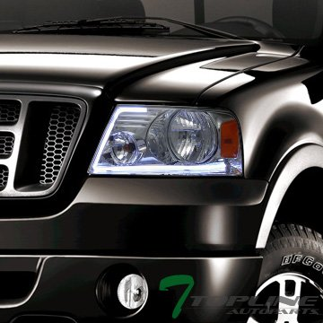 Topline Autopart Lumen Optics Style Chrome Housing LED Tube Bar Headlights Signal Amber Reflector DY For 04-08 Ford F150 ; 06-08 Lincoln Mark LT