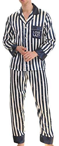 YIMANIE Mens Silk Satin Striped Pajamas Set Classic Sleepwear Loungewear Blue
