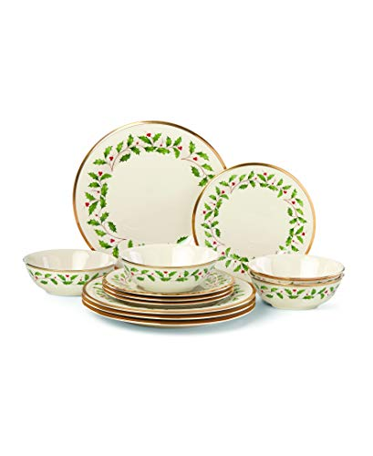 Lenox Holiday 12-Piece Plate & Bowl Set, 14.90 LB, Red & Green