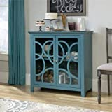 Display China Cabinet, Large Shelf Behind Doors, Framed, Safety-Tempered Glass Doors, Detailed with a Circular Motif on Door Fronts, Wood Composite, Moody Blue Finish + Expert Guide from Love US