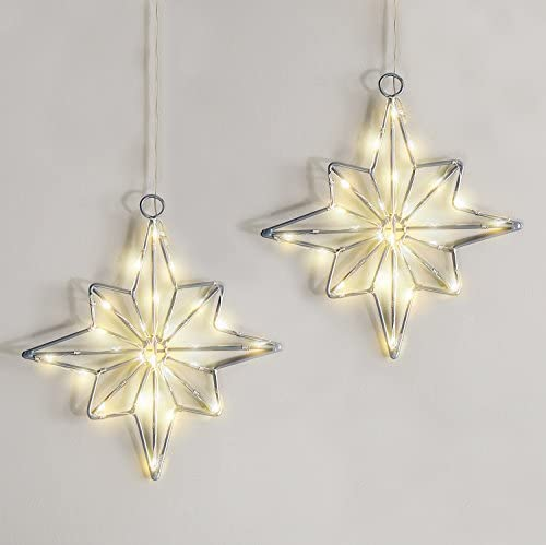 LampLust Hanging Star Window Lights – Battery Operated Pre-Lit Stars, Silver with Warm White LEDs, 8 Inch Tall, Timer Option, Indoor Outdoor, Set of 2