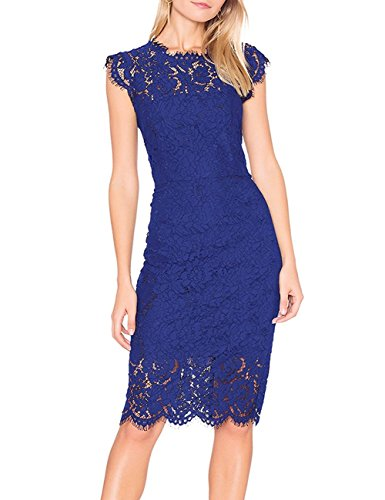 MEROKEETY Women's Sleeveless Lace Floral Elegant Cocktail Dress Crew Neck Knee Length For Party,Navy,Small ()