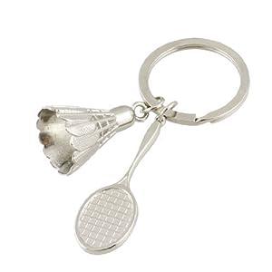 Silber Metall Federballschläger Badminton Ball Schlüsselring...