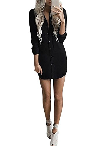 Cardigan Long Chemisier Casual Noir Tunique Longues Chemise Blouse Manches Boutonner Yidarton Top Robe Femme Longue CwWf1qxw0O