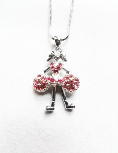 [Accessory Silver - Plated Cheerleader Pendant Necklace] (Dance Team Costumes Competition)
