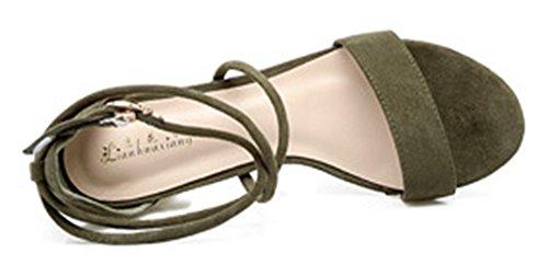 Donne Grosso Verde Affibbiato Delle Aisun Elegante Militare Metà Scarpe Tallonati Sandali vOwZ7
