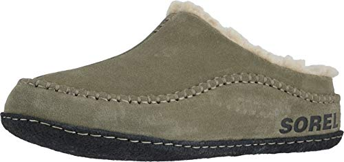 Sorel - Men's Falcon Ridge II House Slippers with Suede Upper and Wool/Polyester Lining, Sage/Black, 9 M US