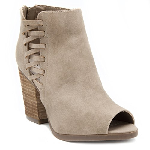 Rampage Open Toe Heels - Rampage Women's Darrow Peep Toe Stacked Block Heel Zipper Ankle Boot, Taupe Distress Polyurethane, 7.5 M US