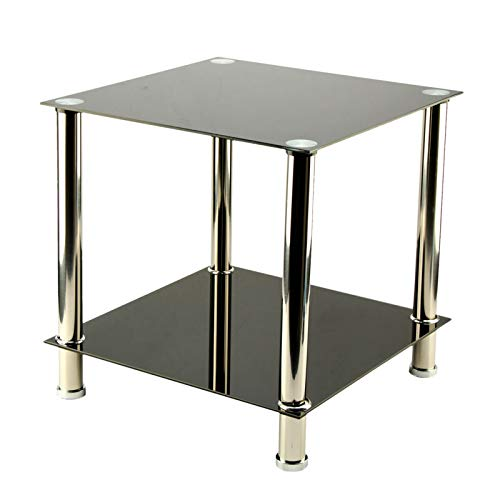 ballshop new small square glass 2 tier table sofa bed side storage shelf coffee table side end lamp with tempered glass surfaces