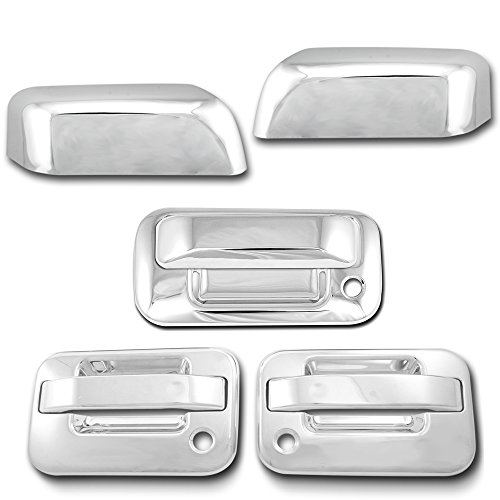 AutoModZone Chrome ABS 2 Door Handle Cover with PSG Keyhole without Keypad + Tailgate Handle Cover + Top Half Mirror Cover Combo for 04-08 Ford F-150