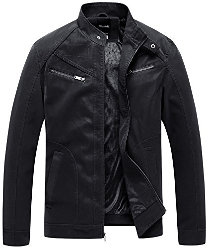 Double Collar Leather Bomber Jacket - 8