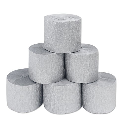 Coceca 6 Rolls Silver Crepe Paper Streamers Silver Streamers for Birthday Party,Class Party,Family Gathering ,Thanksgiving, Christmas decoration