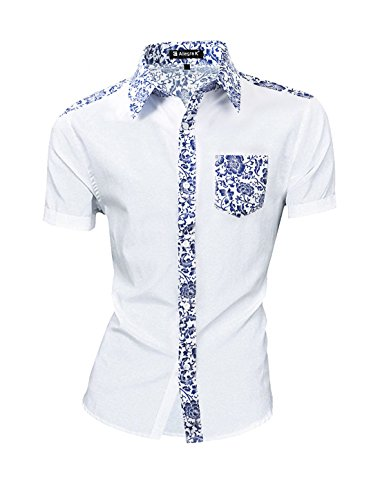 uxcell Men Point Collar Floral Pattern Button Down Pocket Shirt Blue White M(US 40)