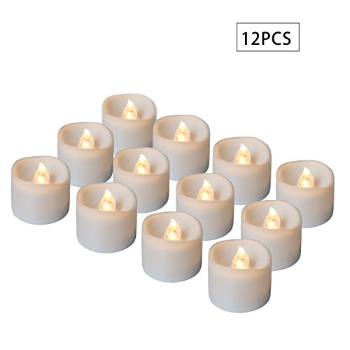 Youngerbaby 12pcs Warm White Flickering Flameless Candles LED Tea Lights Candles with Timer, 6 Hours on and 18 Hours Off in 24 Hours Cycle, Battery Powered Candles for Wedding, Party (Decorate Fireplace Mantel Halloween)