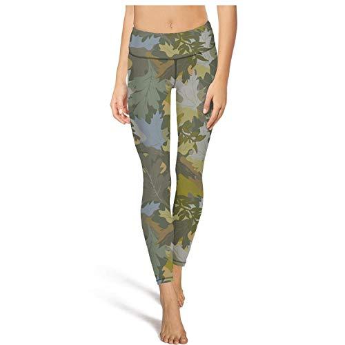 klkljn Women's Yoga Pants Soft Leggins Green Military Leafy Camo Workout Capris