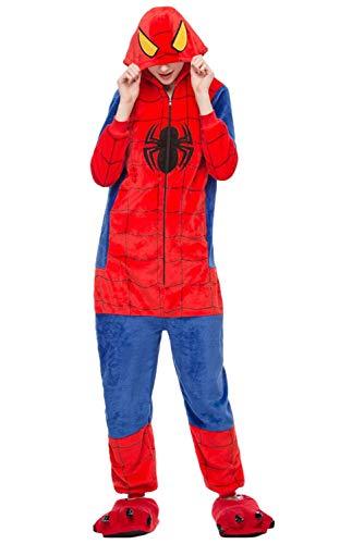 Newdong Unisex Kids Adult Super-Spider Onesie Flannel Pajamas Fleece Cosplay Costume -