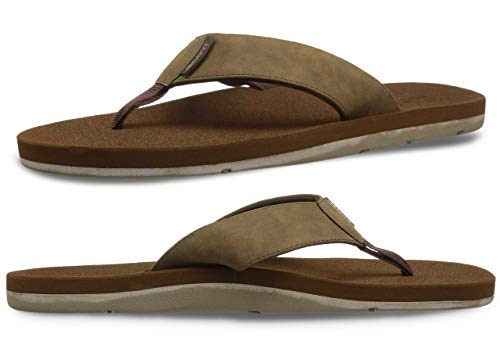 Scott Hawaii Size 12 Kapena Elite Sandals | Brown Vegan Leather Sandal | Non-Marking Bottom Slippers with Cushioned Footbed | Secure Custom Grooves Prevent Slipping