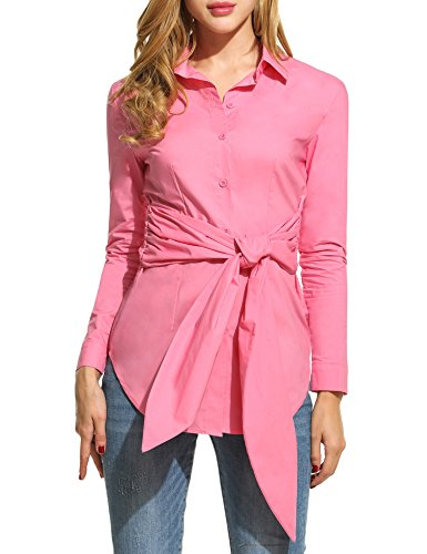 ANGVNS Womens Casual Sleeve Button