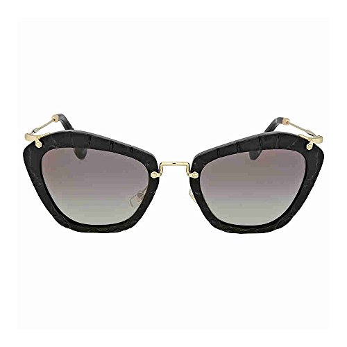 Miu Miu MU10NS USW3M1 Black Noir Cats Eyes Sunglasses Lens Category 2 Size - Miu Miu Cat