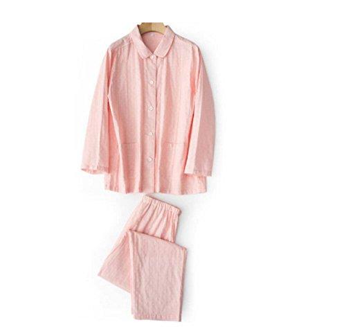 Domicilio Primavera GSHGA Lunghe Maniche Coppia E Female A Cotone Autunno Pigiami Pink Set Servizio wqX1qHT4