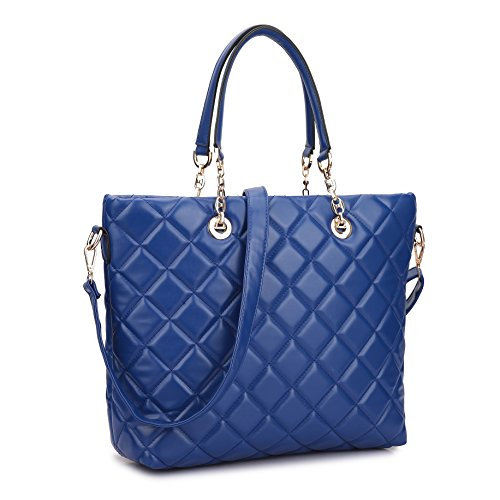 Dasein Faux Leather Quilted Tote Shoudler Bag Handbag with Chained Handles (Blue 1) ()