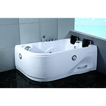 Two 2 Person Whirlpool Massage Hydrotherapy White Corner Bathtub Tub With  BLUETOOTH UPGRADE, Remote Control