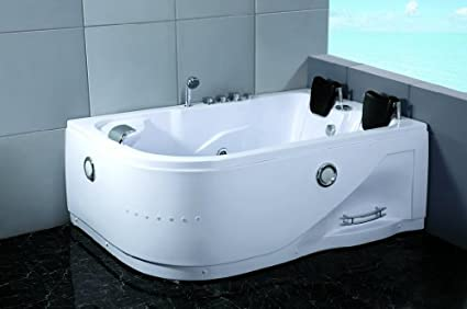 2 Person Whirlpool Massage Hydrotherapy White Corner Bathtub Tub With  BLUETOOTH, Remote Control And Inline