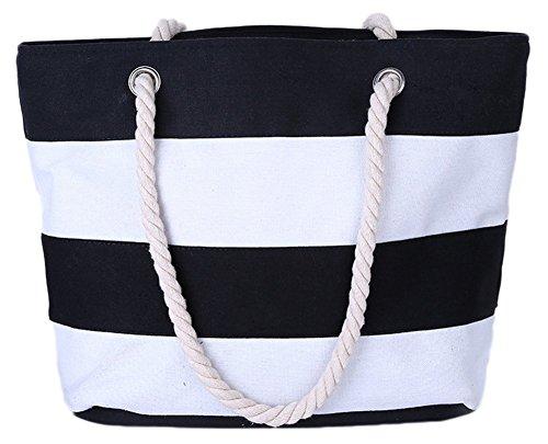 daliuing Bolso de hombro de lona para mujer Bolsas de viaje Bolso de playa de rayas blanco y negro Bolsos de mujer para ir de compras Escuela