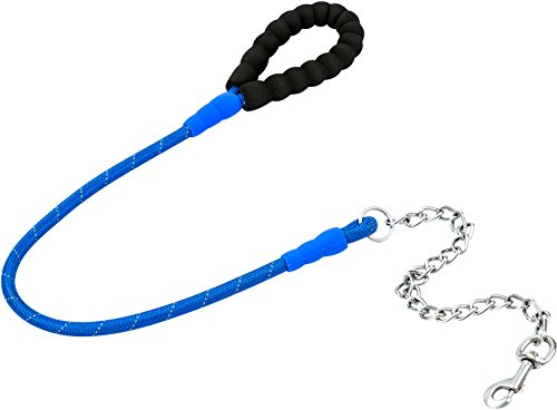 Dog Leash Yobao Chew Proof Durable&Sturdy Dog Chain Lead Fashion Reflective Rope With Padded Handle For Medium To Large Breed Dogs 4 FT Length Best Choice In Training (Blue)