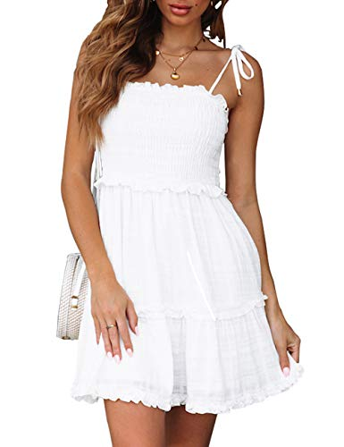 LEANI Women's Summer Spaghetti Strap Solid Color Ruffle Backless A Line Beach Short Dress White