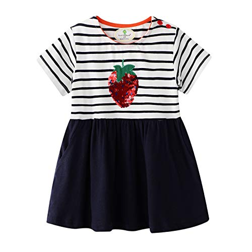 - BIBNice Toddler Girls Dress Playwear Strawberry Print Cute Skirt Short Sleeve Shirts 7T