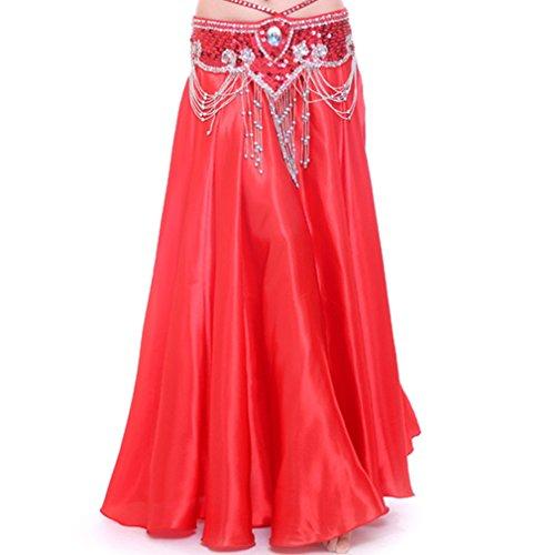 MUNAFIE Belly Dance Satin Skirt Arabic Halloween Shiny Skirt Fancy Full Skirt US0-14 (US0-14, Hot Red) -