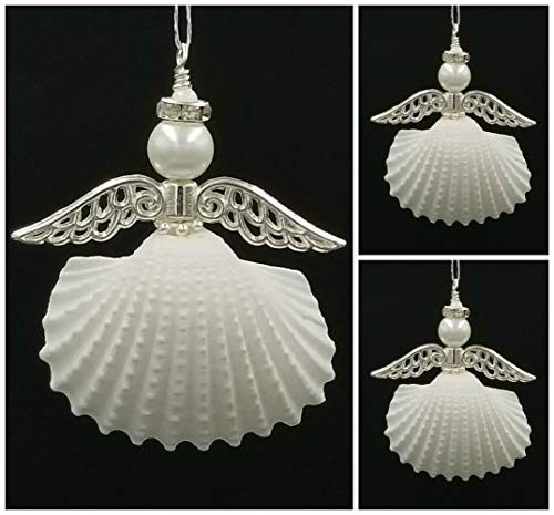 3 Seashell Angel Ornaments with Silver Wings and Rhinestone Halo.