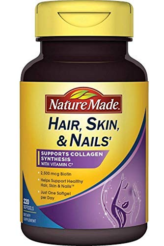 Nature Made Hair Skin & Nails w. 2500 mcg of Biotin Softgels (1 Pack of 220 Count)