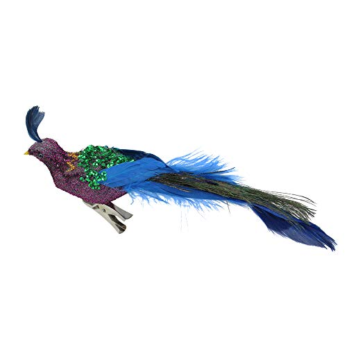 Northlight Regal Peacock Purple Green and Blue Sequins Bird Clip-On Christmas Ornament, 8