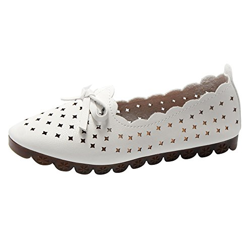 Round Toe Flats, Clearance! Duseedik Women Hollow Flat Soft Bottom Outdoor Leisure Single Shoes Peas Boat