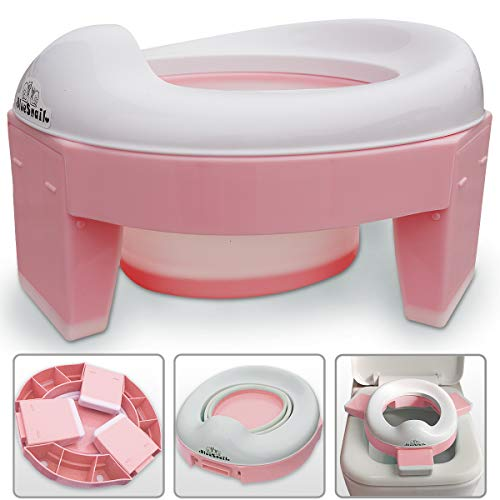 3-in-1 Go Potty for Trave, Portable Folding Potty Training Toilet, Trainiing Seat for Toddler Boys & Girls by BlueSnail (Pink)