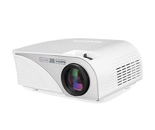 "Portable Projector LCD Home Movie Projector 1200 Lumens,4inch Multimedia Home Projector Support Full HD 1080P,HDMI,USB,VGA,AV,ATV for 35""-120"" Home Theater,TVs,Laptops, Games&Smartphone.iDeer (White) by iDeer Life"