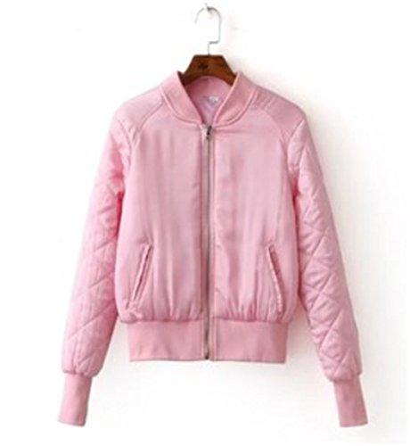 Moda Rosa Chaqueta de Cremallera Mujer Jacket de Chaqueta Corta de YOGLY Casual Mujer Con Chaqueta W6SqvxwU0