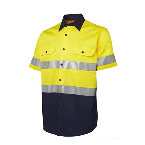 BIG BEE Mens High Visibility Construction Security Traffic Work Wear, Class 2 Executive Safari Safety Shirt, 2 Front Pockets(XL,Yellow/Navy) (Safari Big Shirt)