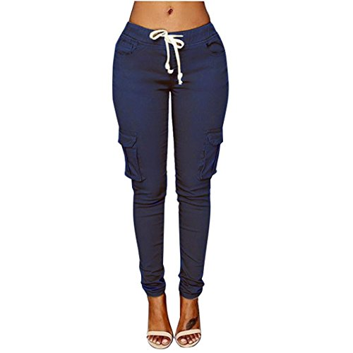 iTLOTL Women Pants Stretch Pencil Trousers High Waist Slim Stretch Elastic Trousers(Navy,XL)