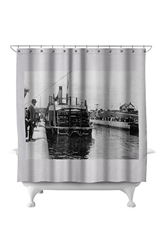 Seattle, Washington - View of US Engineer Department Ship in Ballard Locks (71x74 Polyester Shower Curtain) ()