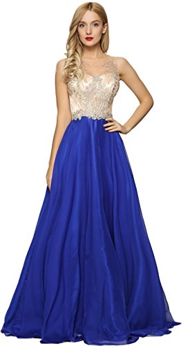- Meier Women's Sheer Beaded Illusion Prom Gowns Homecoming Party Dresses (Royal Blue, 4)